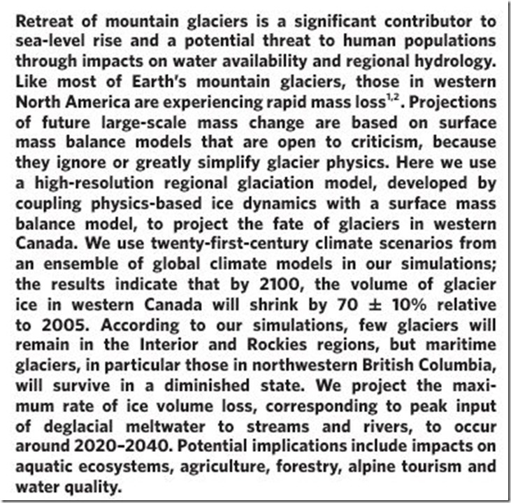 'Projected deglaciation of western Canada in the twenty-first century _ Nature Geoscience'