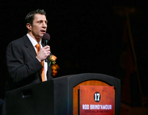 PHILADELPHIA, PA - NOVEMBER 23:  Former Philadelphia Flyer player Rod Brind'Amour addresses the crowd during his Philadelphia Flyers Hall of Fame induction ceremony before the game between the Philadelphia Flyers and the Carolina Hurricanes on November 23, 2015 at the Wells Fargo Center in Philadelphia, Pennsylvania.  (Photo by Elsa/Getty Images)