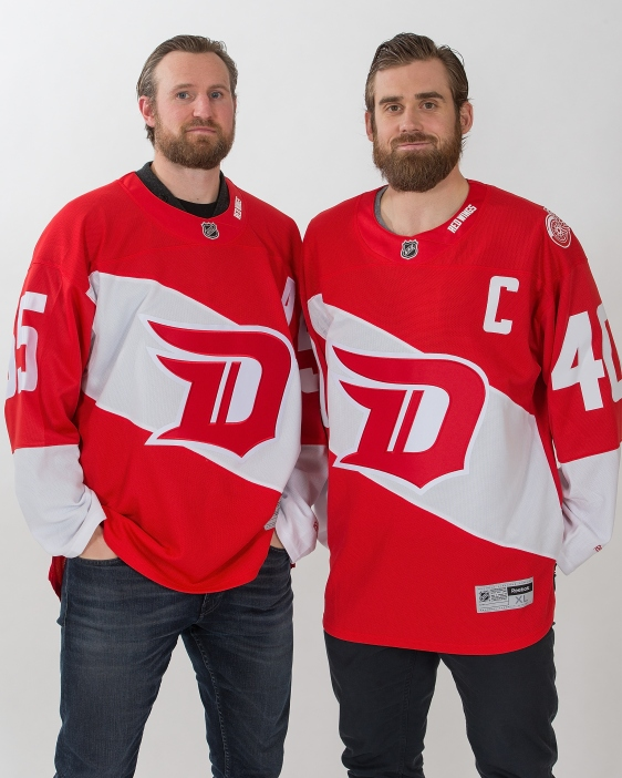 5DETROIT, MI - NOVEMBER 23:  Henrik Zetterberg #40 and Niklas Kronwall #55 of the Detroit Red Wings wear the new Stadium Series Jerseys at Joe Louis Arena on November 23, 2015 in Detroit, Michigan. The new jerseys will be worn on February 27, 2016 at Coors Field in an outdoor game against the Colorado Avalanche. (Photo by Dave Reginek/NHLI via Getty Images)