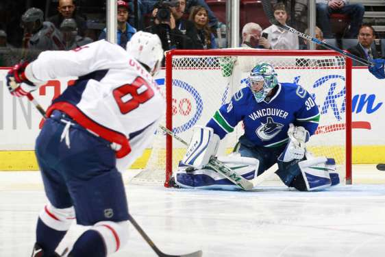 VANCOUVER, BC - OCTOBER 22: Ryan Miller #30 of the Vancouver Canucks makes a save on Alex Ovechkin #8 of the Washington Capitals during their NHL game at Rogers Arena October 22, 2015 in Vancouver, British Columbia, Canada. Washington won 3-2. (Photo by Jeff Vinnick/NHLI via Getty Images)