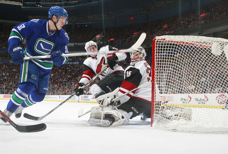 VANCOUVER, BC - JANUARY 4: Bo Horvat #53 of the Vancouver Canucks scores on Louis Domingue #35 of the Arizona Coyotes during their NHL game at Rogers Arena January 4, 2016 in Vancouver, British Columbia, Canada. (Photo by Jeff Vinnick/NHLI via Getty Images)