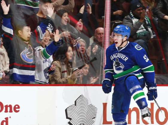 VANCOUVER, BC - JANUARY 6: Bo Horvat #53 of the Vancouver Canucks celebrates after scoring against the Carolina Hurricanes during their NHL game at Rogers Arena January 6, 2016 in Vancouver, British Columbia, Canada. Vancouver won 3-2. (Photo by Jeff Vinnick/NHLI via Getty Images)