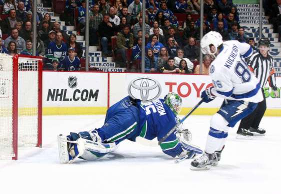 VANCOUVER, BC - JANUARY 9: Nikita Kucherov #86 of the Tampa Bay Lightning scores in overtime on Jacob Markstrom #25 of the Vancouver Canucks during their NHL game January 9, 2016 in Vancouver, British Columbia, Canada. Tampa Bay won 3-2. (Photo by Jeff Vinnick/NHLI via Getty Images)