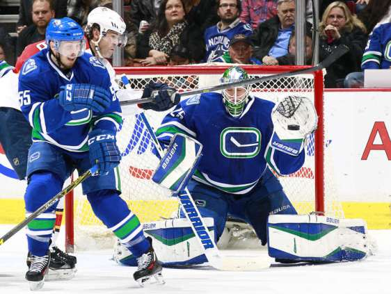 VANCOUVER, BC - JANUARY 11: Jacob Markstrom #25 of the Vancouver Canucks makes a save beside Jaromir Jagr #68 of the Florida Panthers and Alex Biega #55 of the Canucks during their NHL game at Rogers Arena January 11, 2016 in Vancouver, British Columbia, Canada. (Photo by Jeff Vinnick/NHLI via Getty Images)
