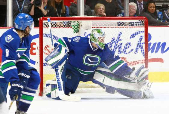 VANCOUVER, BC - JANUARY 11: Christopher Tanev #8 of the Vancouver Canucks turns to watch Jacob Markstrom #25 of the Canucks make a save against the Florida Panthers during their NHL game at Rogers Arena January 11, 2016 in Vancouver, British Columbia, Canada. Vancouver won 3-2. (Photo by Jeff Vinnick/NHLI via Getty Images)