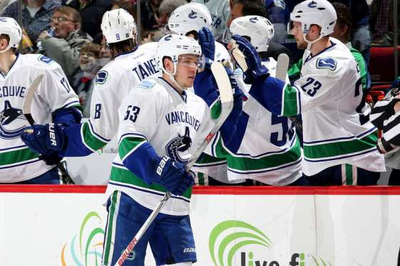RALEIGH, NC - JANUARY 15: Bo Horvat #53 of the Vancouver Canucks celebrates with teammates after scoring during an NHL game against the Carolina Hurricanes at PNC Arena on January 15, 2016 in Raleigh, North Carolina. (Photo by Gregg Forwerck/NHLI via Getty Images)