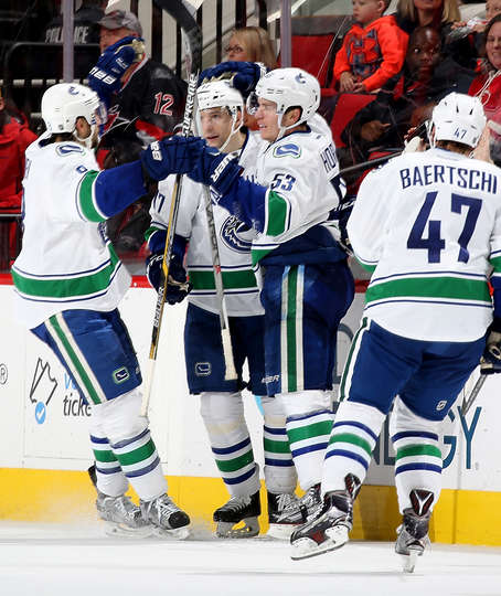 RALEIGH, NC - JANUARY 15: Bo Horvat #53 of the Vancouver Canucks celebrates with teammates after scoring an overtime goal during an NHL game against the Carolina Hurricanes at PNC Arena on January 15, 2016 in Raleigh, North Carolina. (Photo by Gregg Forwerck/NHLI via Getty Images)