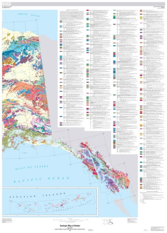 Geologic map of Alaska, part 2: generalized geologic map of the eastern part of Alaska. Image credit: U.S. Geological Survey / U.S. Department of the Interior.