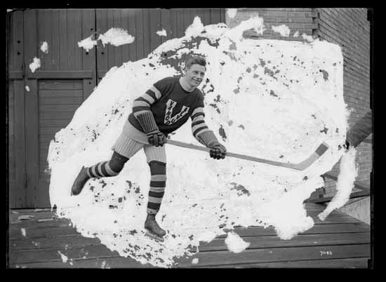 "VPL Accession Number: 17975 Date: 191- Photographer/Studio: Thomson, Stuart Content: City Archives has similar CVA #99773 Photograph possibly taken 1918 or 1919 Topic: Hockey players Hockey uniforms Person: MacKay, Duncan ""Mickey"" (Vancouver Millionaires - Rover) Organization: Vancouver Millionaires (Hockey team) Location: British Columbia - Vancouver Copyright Restrictions: Public Domain"
