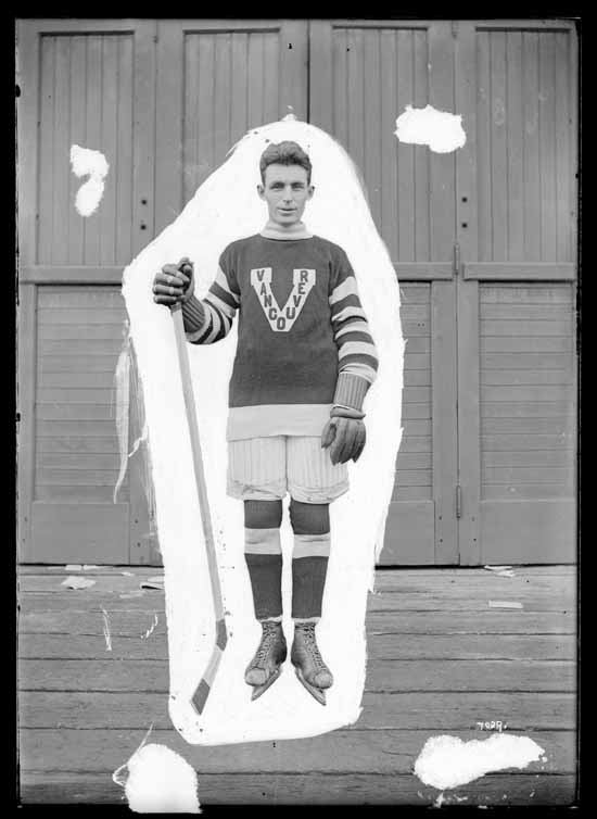 "VPL Accession Number: 17982 Date: 191- Photographer/Studio: Thomson, Stuart Content: City Archives has similar CVA 99776 Photograph possibly taken 1918 or 1919 Topic: Hockey players Hockey uniforms Person: Harris, F ""Smokey"" (Vancouver Millionaires - Left Wing) Organization: Vancouver Millionaires (Hockey team) Location: British Columbia - Vancouver Copyright Restrictions: Public Domain"