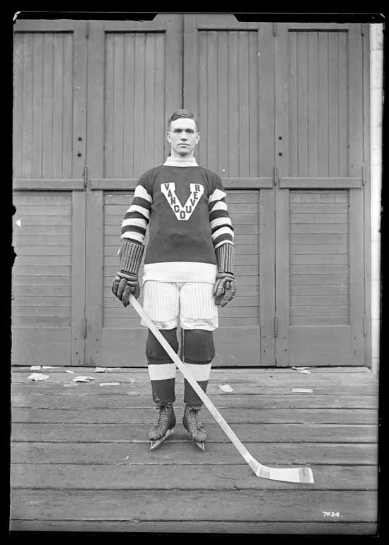 VPL Accession Number: 17991 Date: 191- Photographer/Studio: Thomson, Stuart Content: City Archives has similar CVA 99774 Photograph possibly taken 1918 or 1919 Topic: Hockey players Hockey uniforms Person: Cook, Lloyd (Vancouver Millionaires Team Captain - Defense) Organization: Vancouver Millionaires (Hockey team) Location: British Columbia - Vancouver Copyright Restrictions: Public Domain