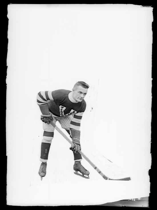 VPL Accession Number: 17994 Date: 191- Photographer/Studio: Thomson, Stuart Content: City Archives has similar CVA 99770 Photograph possibly taken 1918 or 1919 Topic: Hockey players Hockey uniforms Person: Ukzila, C (Vancouver Millionaires - Forward) Organization: Vancouver Millionaires (Hockey team) Location: British Columbia - Vancouver Copyright Restrictions: Public Domain