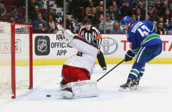VANCOUVER, BC - FEBRUARY 4: Joonas Korpisalo #70 of the Columbus Blue Jackets stops Sven Baertschi #47 of the Vancouver Canucks on a shootout attempt during their NHL game at Rogers Arena February 4, 2016 in Vancouver, British Columbia, Canada. Columbus won 2-1 in a shootout. (Photo by Jeff Vinnick/NHLI via Getty Images)