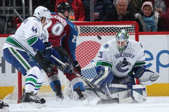 DENVER, CO - FEBRUARY 09: Goalie Jacob Markstrom #25 of the Vancouver Canucks defends the goal as Nathan MacKinnon #29 of the Colorado Avalanche and Matt Bartkowski #44 of the Vancouver Canucks look to control the puck at Pepsi Center on February 9, 2016 in Denver, Colorado. (Photo by Doug Pensinger/Getty Images)