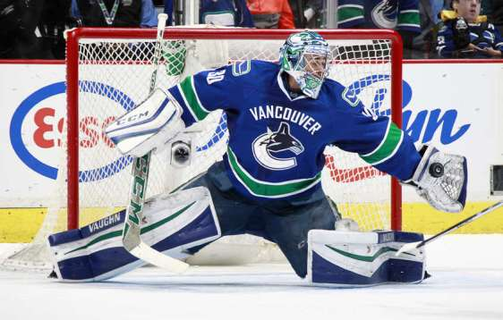 VANCOUVER, BC - FEBRUARY 21: Ryan Miller #30 of the Vancouver Canucks makes a glove save against the Colorado Avalanche during their NHL game at Rogers Arena February 21, 2016 in Vancouver, British Columbia, Canada. Vancouver won 5-1. (Photo by Jeff Vinnick/NHLI via Getty Images)