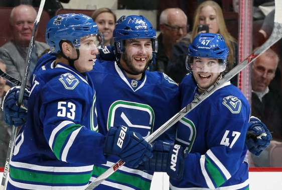 VANCOUVER, BC - FEBRUARY 25: Bo Horvat #53 and Sven Baertschi #47 congratulate Matt Bartkowski #44 of the Vancouver Canucks of the Vancouver Canucks who scored two goals against the Ottawa Senators during their NHL game at Rogers Arena February 25, 2016 in Vancouver, British Columbia, Canada. Vancouver won 5-3. (Photo by Jeff Vinnick/NHLI via Getty Images)