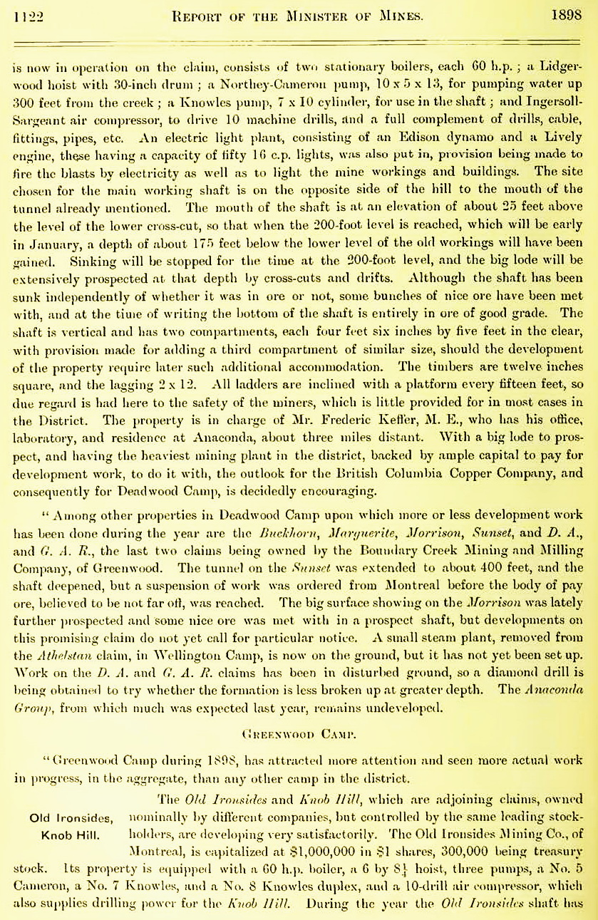1898 Annual Report of Minister of Mines: Kettle River Mining