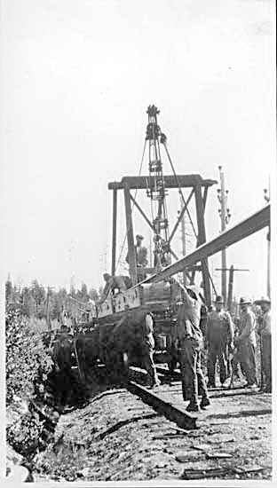 Men lifting abandoned C.P.R. rails at Phoenix VPL Accession Number: 1748 Date: 1917