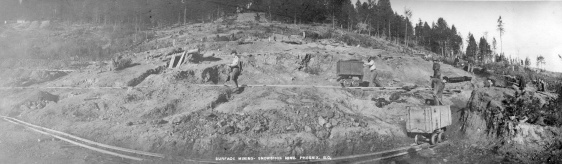 Surface Mining - Snowshoe Mine, Phoenix, B.C. Reference code AM54-S4-: LP 196.1 Dates of creation area Date(s) 1901-1902 Name of creator Matthews, James Skitt, Major (1878-1970) Donated by Mr. H.C. Fitz James on Jan. 27, 1953. Hall, William (Photographer)