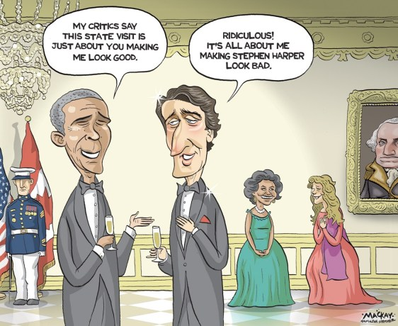 "Editorial Cartoon by Graeme MacKay, The Hamilton Spectator Ð Wednesday March 9, 2016 Trudeau and Obama forging special relationship, White House says Prime Minister Justin Trudeau is winning praise from the White House for his leadership on climate change ahead of this week's visit to Washington where that issue will be high on the agenda. In a call with reporters Tuesday morning, officials from President Barack Obama's administration also noted the personal relationship that is developing between the two leaders. Obama extended the invitation for a state visit and dinner, the first in 19 years for a Canadian prime minister, when he met Trudeau at the APEC summit late last year. The officials said Canada and the U.S. always have a close relationship, regardless of who occupies 24 Sussex Drive or 1600 Pennsylvania Avenue, but they acknowledged Trudeau and Obama have a lot in common. Trudeau arrives in the U.S. capital Wednesday along with his wife Sophie GrŽgoire-Trudeau and a delegation that includes five cabinet members: Environment and Climate Change Minister Catherine McKenna, Foreign Affairs Minister StŽphane Dion, International Trade Minister Chrystia Freeland, Defence Minister Harjit Sajjan and Fisheries Minister Hunter Tootoo. They will attend a lavish state dinner at the White House on Thursday night after a day of meetings in the Oval Office and at the State Department. The White House officials discussed the close bilateral relationship between the two countries in terms of trade and defence but they paid particular attention to how Canada and the U.S. are co-operating on the environment file and suggested there is a change in tone since Trudeau defeated former prime minister Stephen Harper in October. ""Since Prime Minister Trudeau assumed office we have also had tremendous co-operation with Canada on climate and clean energy issues,"" said Roberta Jacobson, assistant secretary of state, bureau of Western Hemisphere affairs. (Source: CBC News) http"