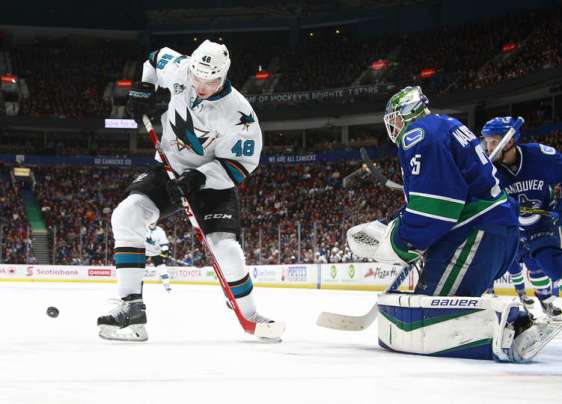 VANCOUVER, BC - MARCH 29: Jacob Markstrom #25 of the Vancouver Canucks makes a save on Tomas Hertl #48 of the San Jose Sharks during their NHL game at Rogers Arena March 29, 2016 in Vancouver, British Columbia, Canada. San Jose won 4-1. (Photo by Jeff Vinnick/NHLI via Getty Images)