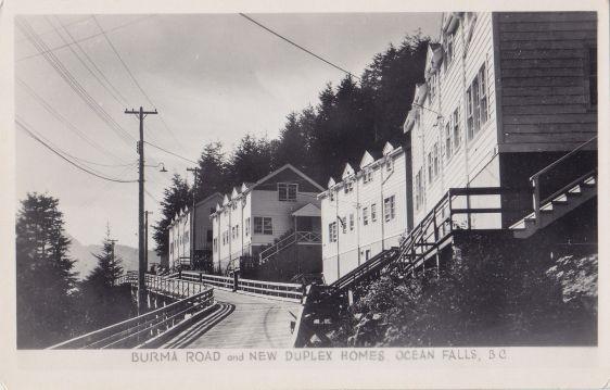 Burma Road & New Duplex Homes OCEAN FALLS B.C. Canada Gowen Real Photo Postcard