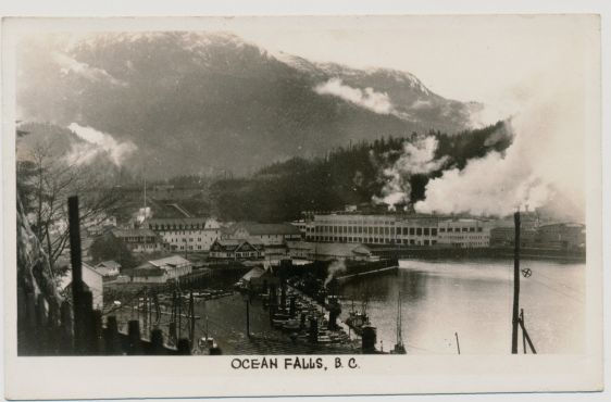 OCEAN FALLS B.C. RPPC GOWER SUTTON WATERFRONT VIEW BOATS MILL