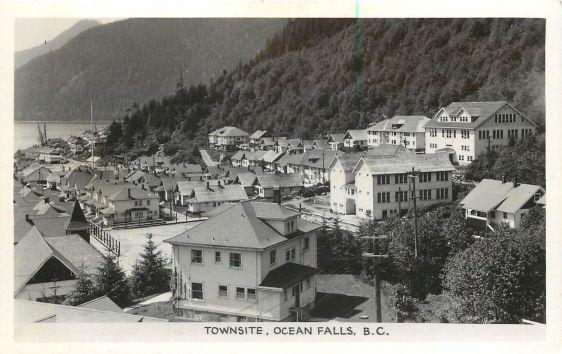 """Vintage Postcard, """" Townsite, Ocean Falls, B.C. """" Gowen-Sutton Co., Ltd., Vancouver, B.C."""