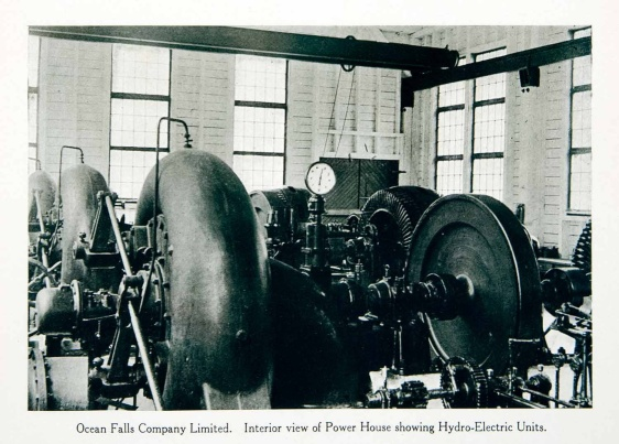 original 1915 duotone halftone print of the interior of the Power House in Ocean Falls, British Columbia, Canada. Ocean Falls used to be a company town with its residents working in the pulp and paper mill.