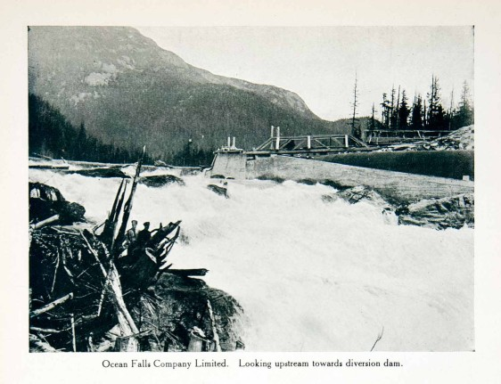 original 1915 duotone halftone print of the view of the diversion dam in Ocean Falls, British Columbia, Canada.