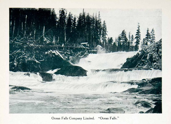original 1915 duotone halftone print of the Ocean Falls in Ocean Falls, Canada.