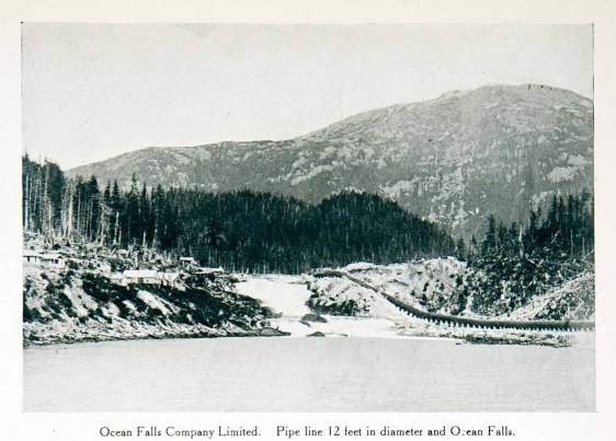 original 1915 duotone halftone print of the pipe line in Ocean Falls, British Columbia, Canada. Ocean Falls used to be a company town with its residents working in the pulp and paper mill.