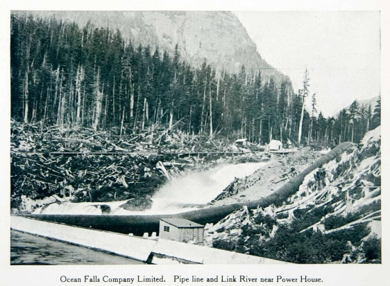 print of the pipe line and Link River in Ocean Falls, British Columbia, Canada. Ocean Falls used to be a company town with its residents working in the pulp and paper mill.