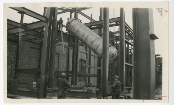 "Boilermakers from Lodge 359 installing the steam drum of a new boiler at the Ocean Falls generating station in 1938.  The hydroelectric power plant was originally built in 1917 as part of the Pacific Mills pulp and paper mill.   Photos from the International Brotherhood of Boilermakers archives collection ""The Boilermaking Career of William Charun, Member of Lodge 359, 1948 to 1980's."" Photos courtesy of Richard MacIntosh, International Representative."