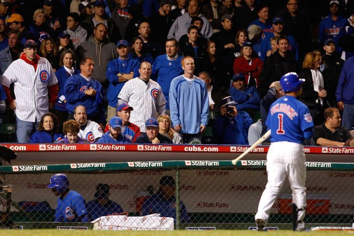 Cubs fans look on during the 2008 MLB playoffs