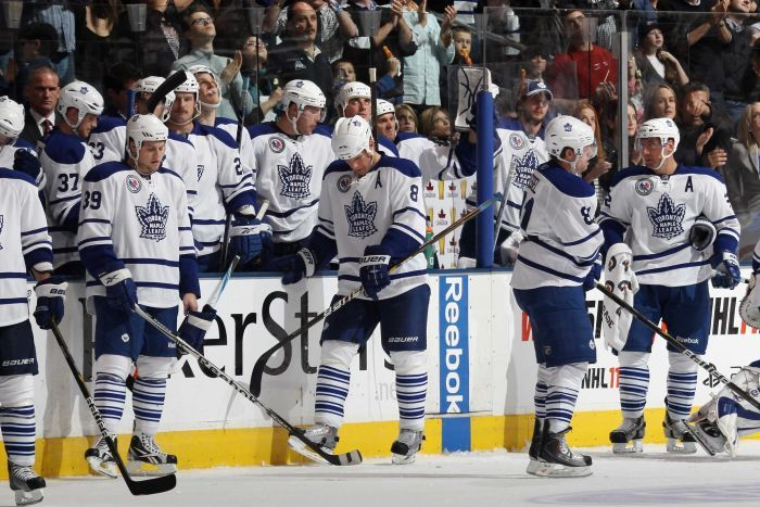 Toronto Maple Leafs dejected against Buffalo